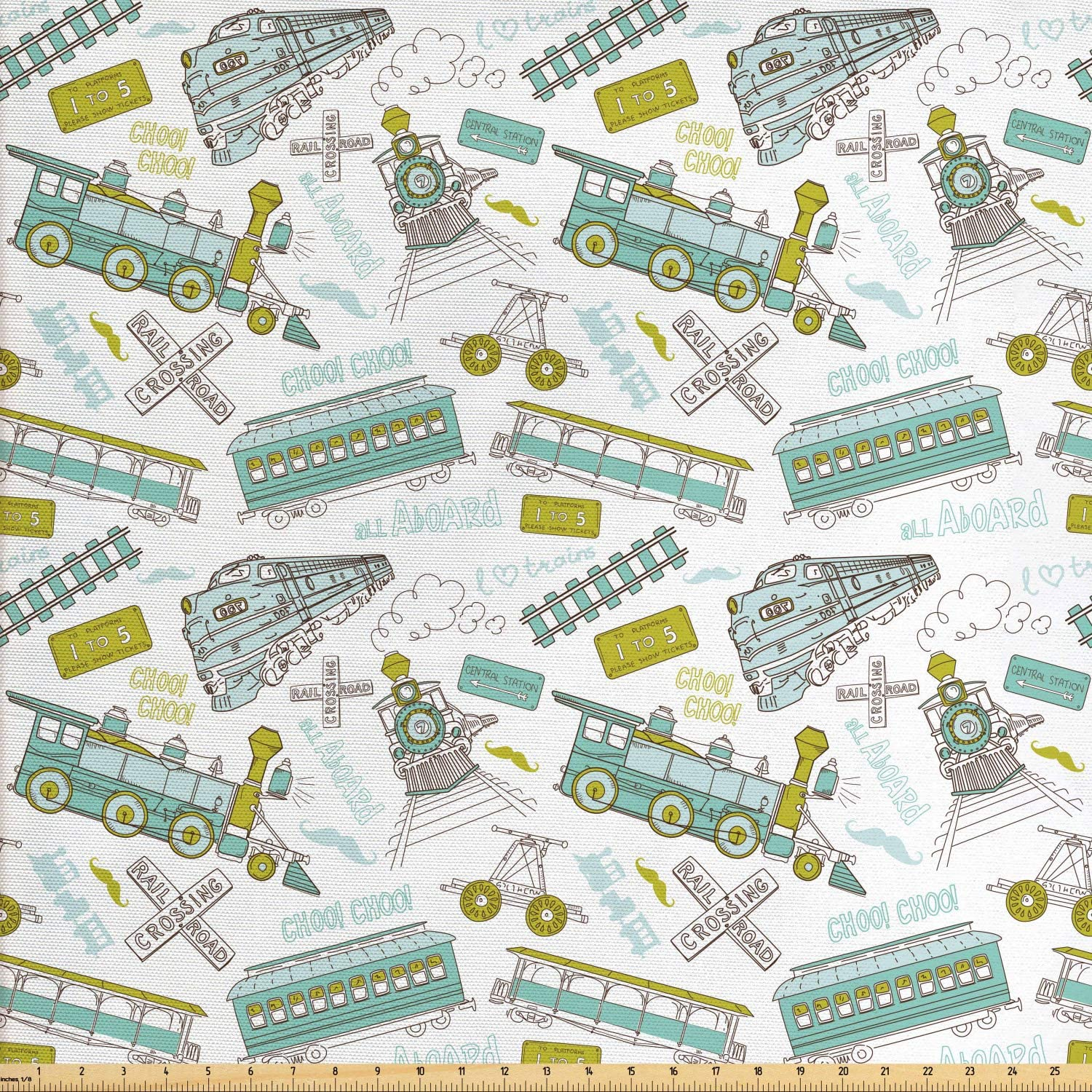 Ambesonne Steam Engine Fabric by The Yard, Choo Choo Train Kids Boy Pattern Blue Green Number Plate Vintage, Decorative Fabric for Upholstery and Home Accents, 3 Yards, Apple Green