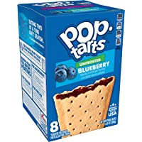 Pop-Tarts, Breakfast Toaster Pastries, Unfrosted Blueberry, Proudly Baked in the USA, 13.5oz Box (1 Pack 8 Count)