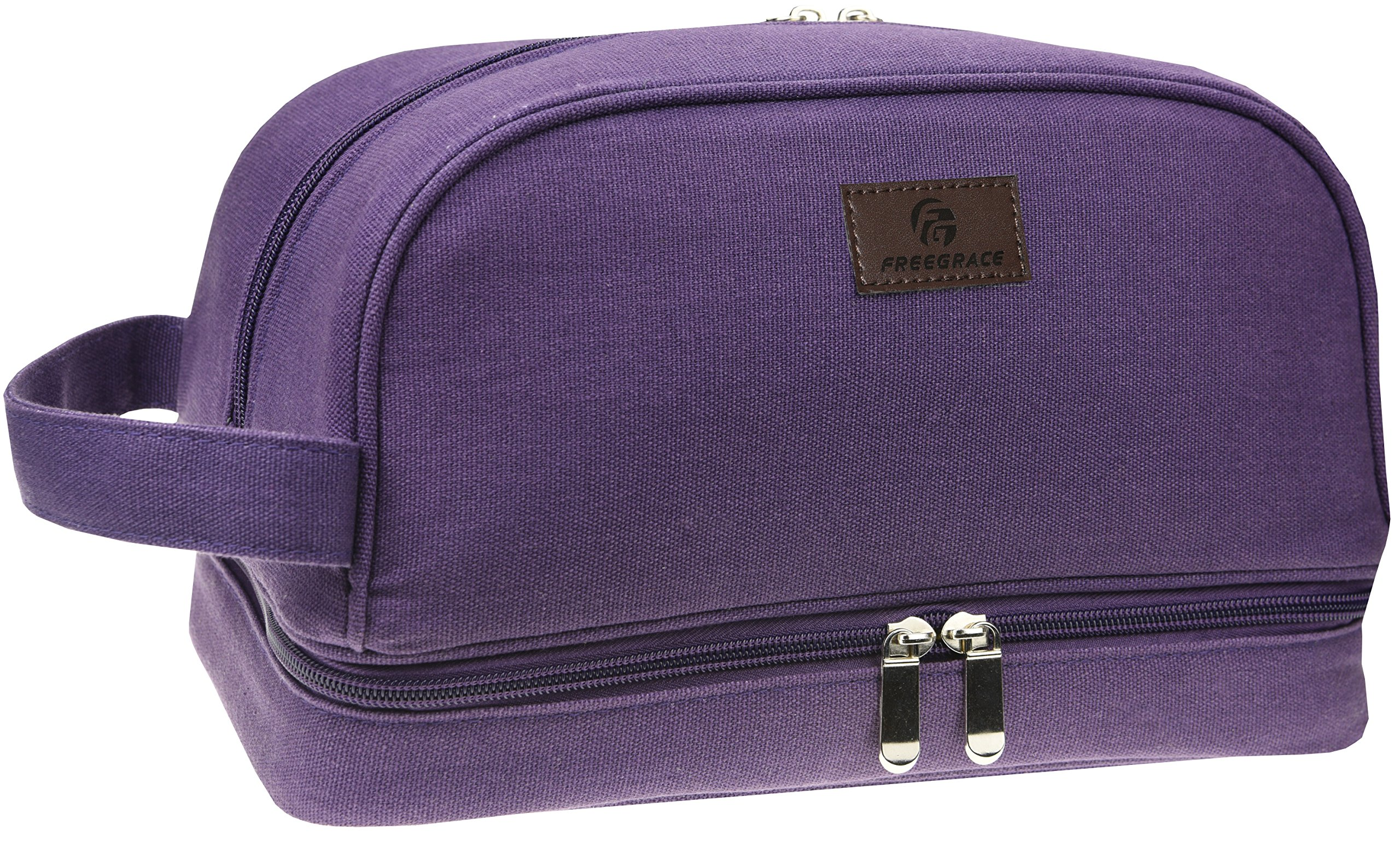 Premium Toiletry Bag By Freegrace -Travel Essentials Organizer - For Men & Women - Perfect For Accessories, Cosmetics, Personal Items, Shampoo, Body Wash (Purple)