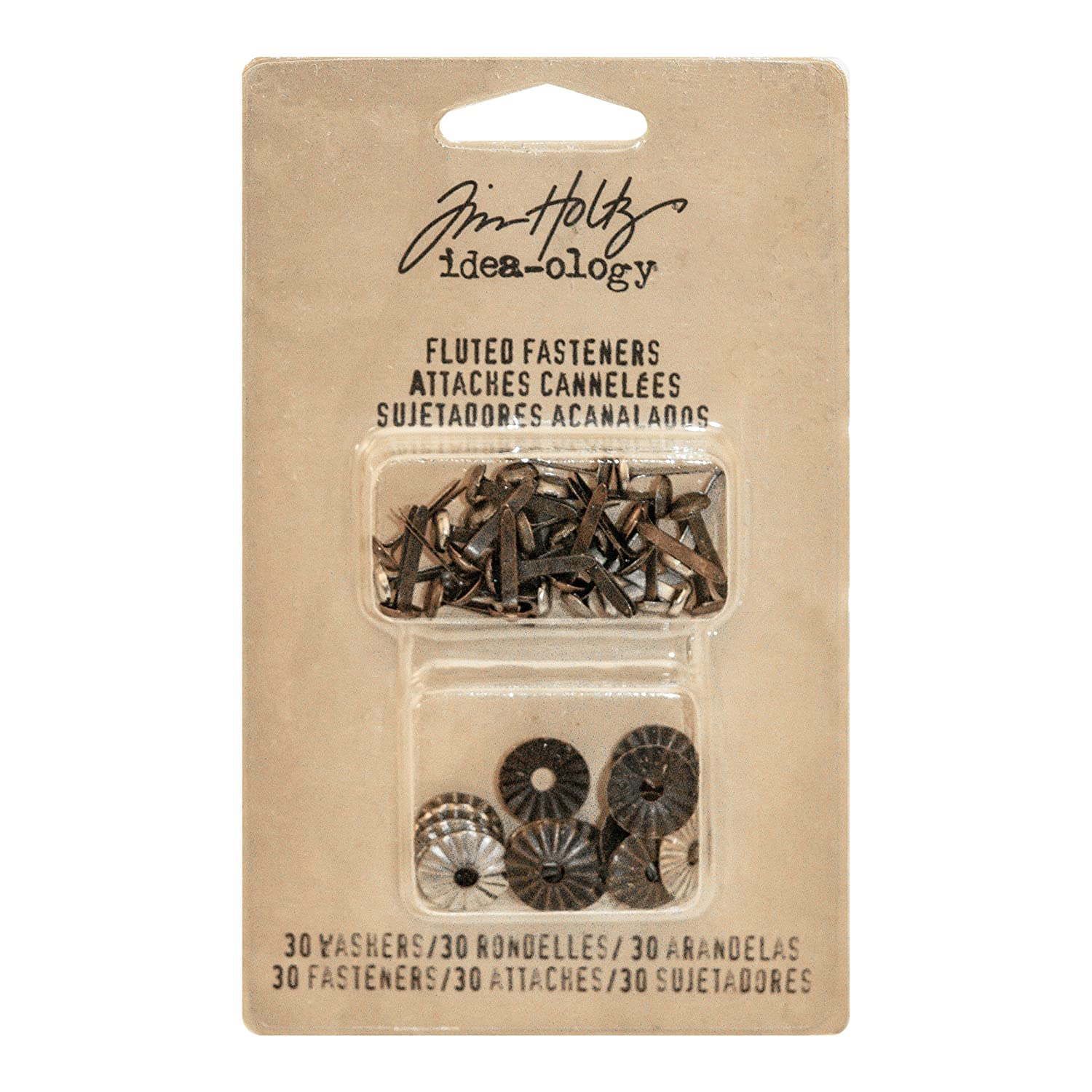 Tim Holtz Idea-ology TH93268 Hex Fasteners 30/Pack, 1/4 and 1/2 Designs, Antiqued Nickel, Brass & Copper Advantus