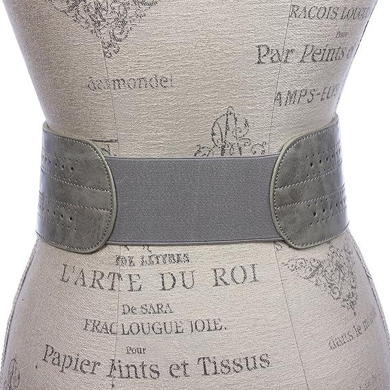 Cinturón elástico para mujer, 12, 7 cm de ancho, cintura alta, hebillas dobles: Amazon.es: Ropa y accesorios