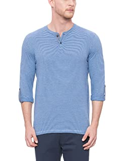 f67ace5cf543 BASICS Muscle Fit Galaxy Blue Henley T Shirt: Amazon.in: Clothing ...