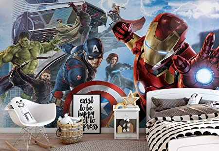 0a593552979 Marvel Avengers Team - Photo Wallpaper - Wall Mural - Giant Wall Poster -  XXL - 368cm x 254cm - Standard Paper (NOT EasyInstall) - 4 Pieces:  Amazon.co.uk: ...