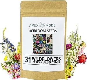 Perennial Wildflower Seeds, 31 Different Varieties - 30,000 Seeds, Hummingbird and Butterfly Garden Seeds, Popular Perennial Flower Seeds, American Non-GMO Wildflower Seeds Mix for Your Garden