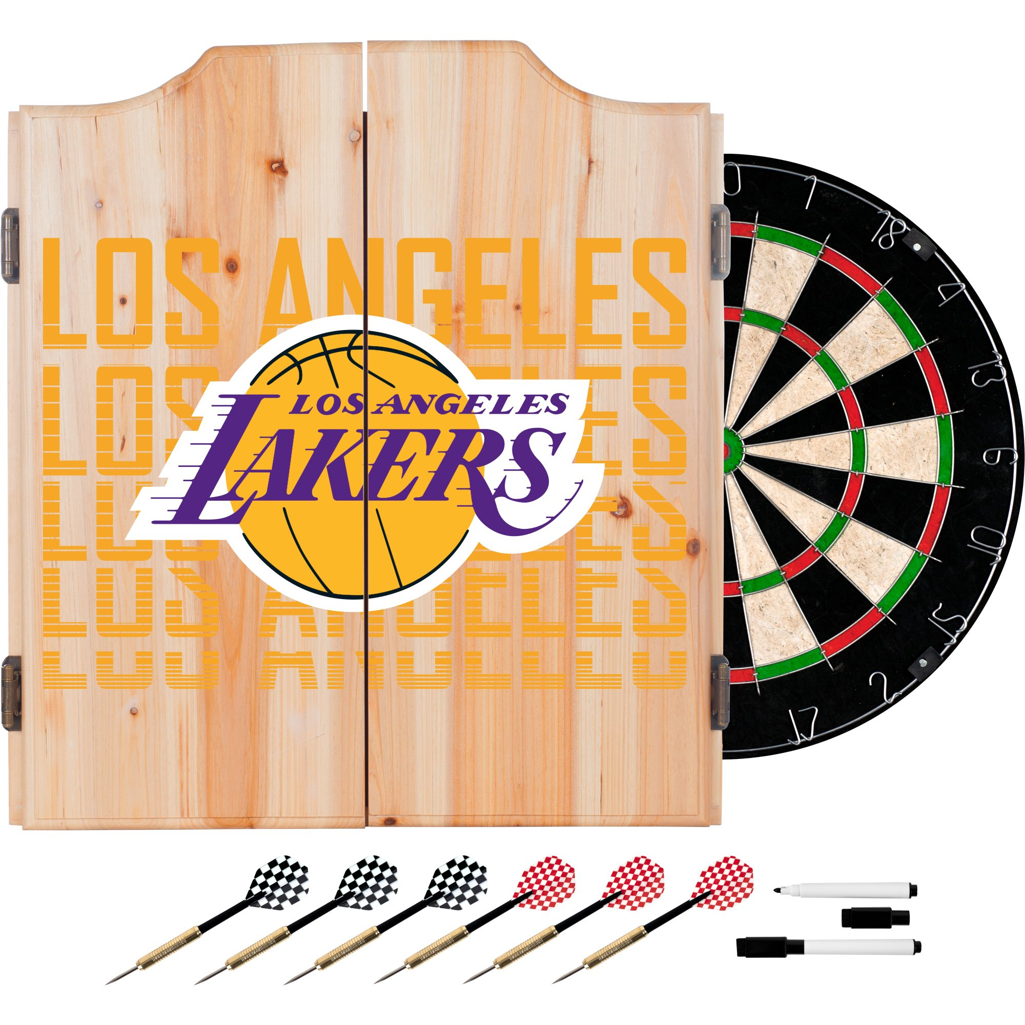 Trademark Gameroom NBA7010-LAL3 NBA Dart Cabinet Set with Darts & Board - City - Los Angeles Lakers