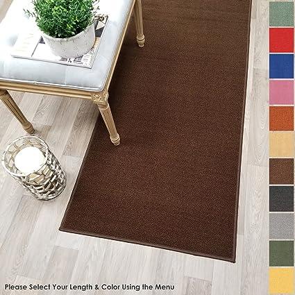 Kapaqua Custom Size Brown Solid Plain Rubber Backed Non Slip Hallway Stair  Runner Rug Carpet