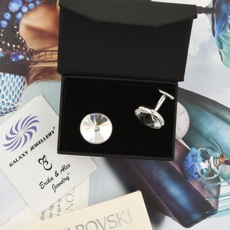 Premium Designer Cufflinks Shirt Studs With Clear Swarovski Crystals