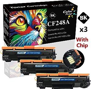 (3-Pack, Black) Compatible CF248A 48A Toner Cartridge Used for HP Laserjet Pro M15w M15a MFP M28w M28a M16a M16w M29w M29a Printer, by ColorPrint