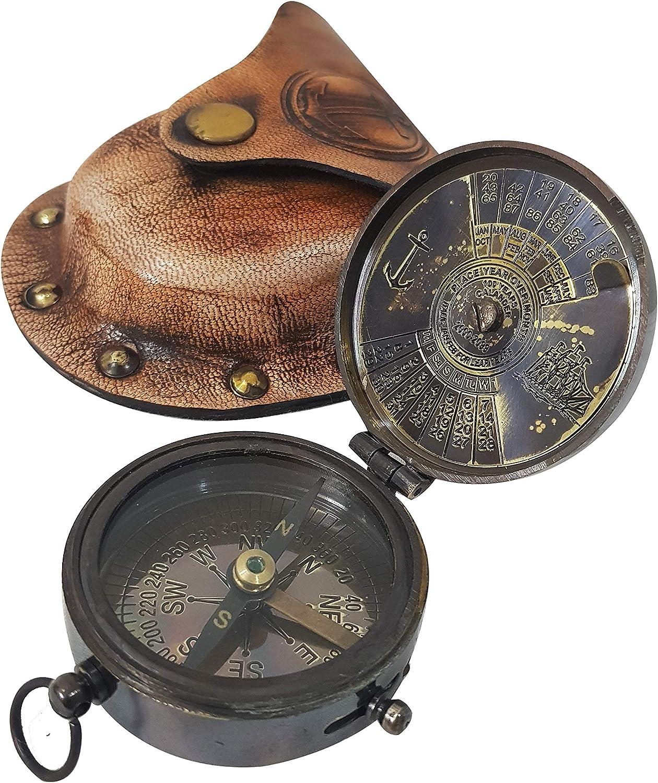 Dekor Mobilya Vintage Brass Calender Navigation Compass Antique Finish Compass with Handmade Brown Leather Case