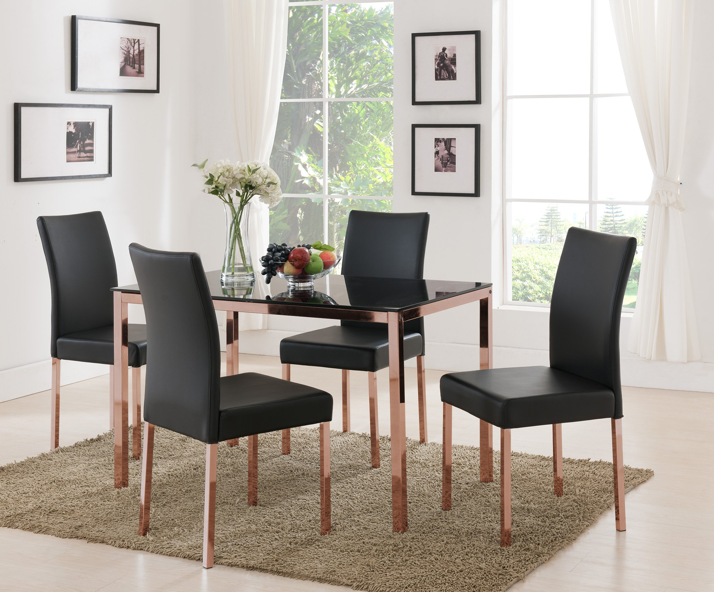 Kings Brand Rose Copper With Black Tempered Glass Kitchen Dinette Dining Table & 4 Chairs - Kings Brand Furniture Rose Copper With Black Tempered Glass Kitchen Dinette Dining Table & 4 Chairs. Modernize your dining area with this black tempered glass dining table set on a rose copper metal base. Chair is solidly constructed with an inner metal frame and black vinyl upholstery. - kitchen-dining-room-furniture, kitchen-dining-room, dining-sets - 91sv9uaazIL -