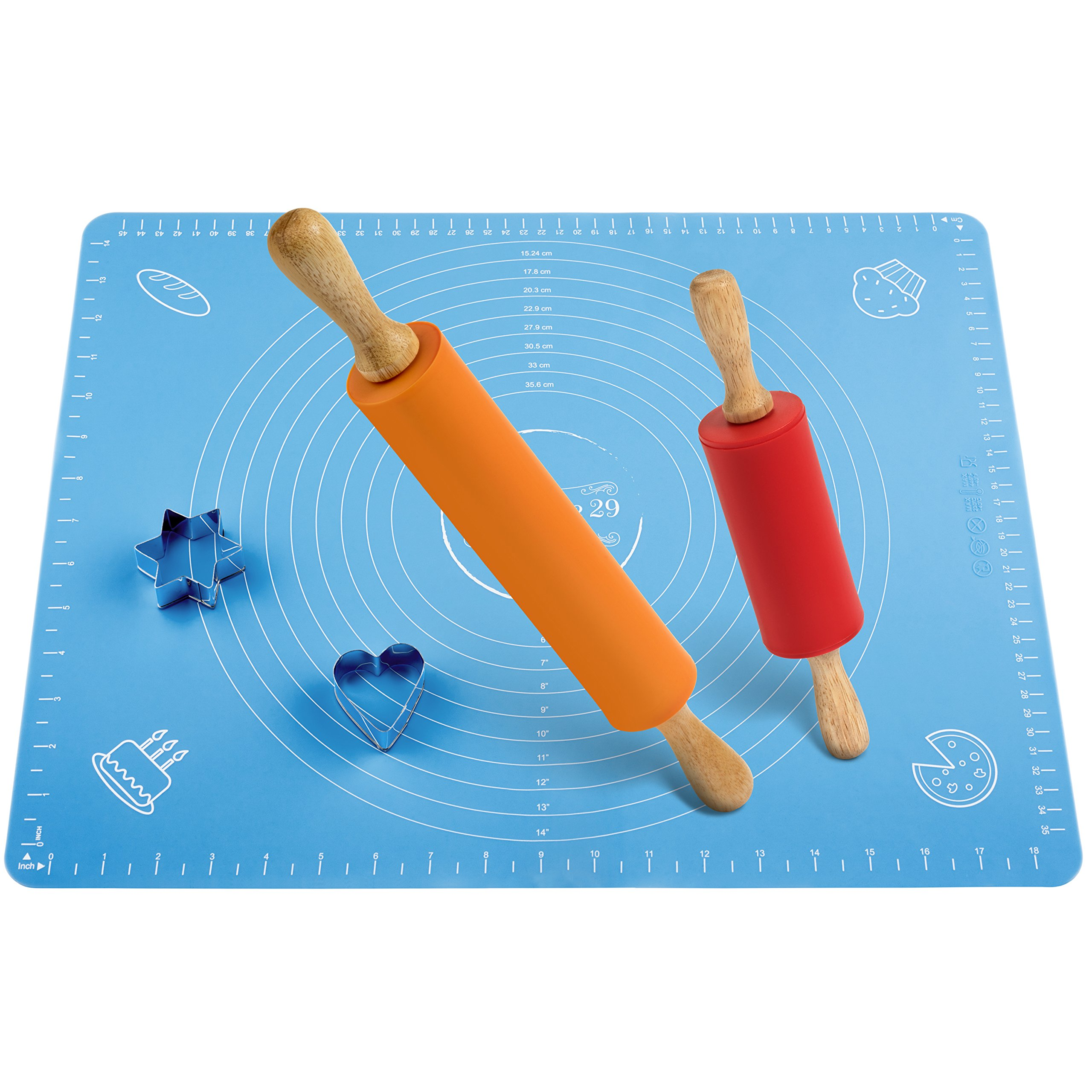 Non-Stick Rolling Pin and Pastry Mat Set: Combo Kit of Large and Small Silicone Dough Rollers, Reusable Kneading Mat with Measurements, and 2 Stainless Steel Cookie Cutters for Baking Patisserie 29