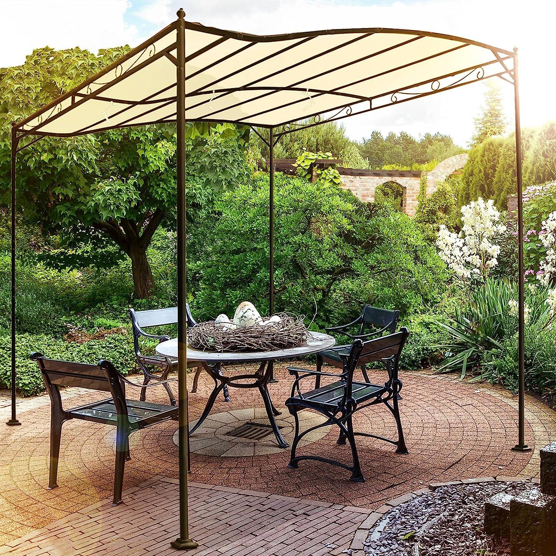 Miadomodo - Carpa de jardín de Metal - cenador pabellón de poliéster en Color Beis - Aprox. 3 x 2,5 x 2,5 m