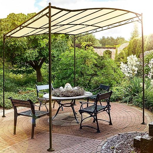 Miadomodo - Carpa de jardín de Metal - cenador pabellón de poliéster en Color Beis - Aprox. 3 x 2,5 x 2,5 m: Amazon.es: Hogar