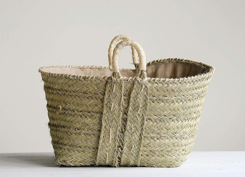 Creative Co-op 手編みモロッコバスケット ハンドル付き 62食品不使用 収納 - ウィッカーナチュラル B07HX81MB9