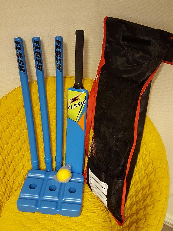 Juego de cricket de talla 3, de iniciación, que incluye bates, tocones y bolas ASports