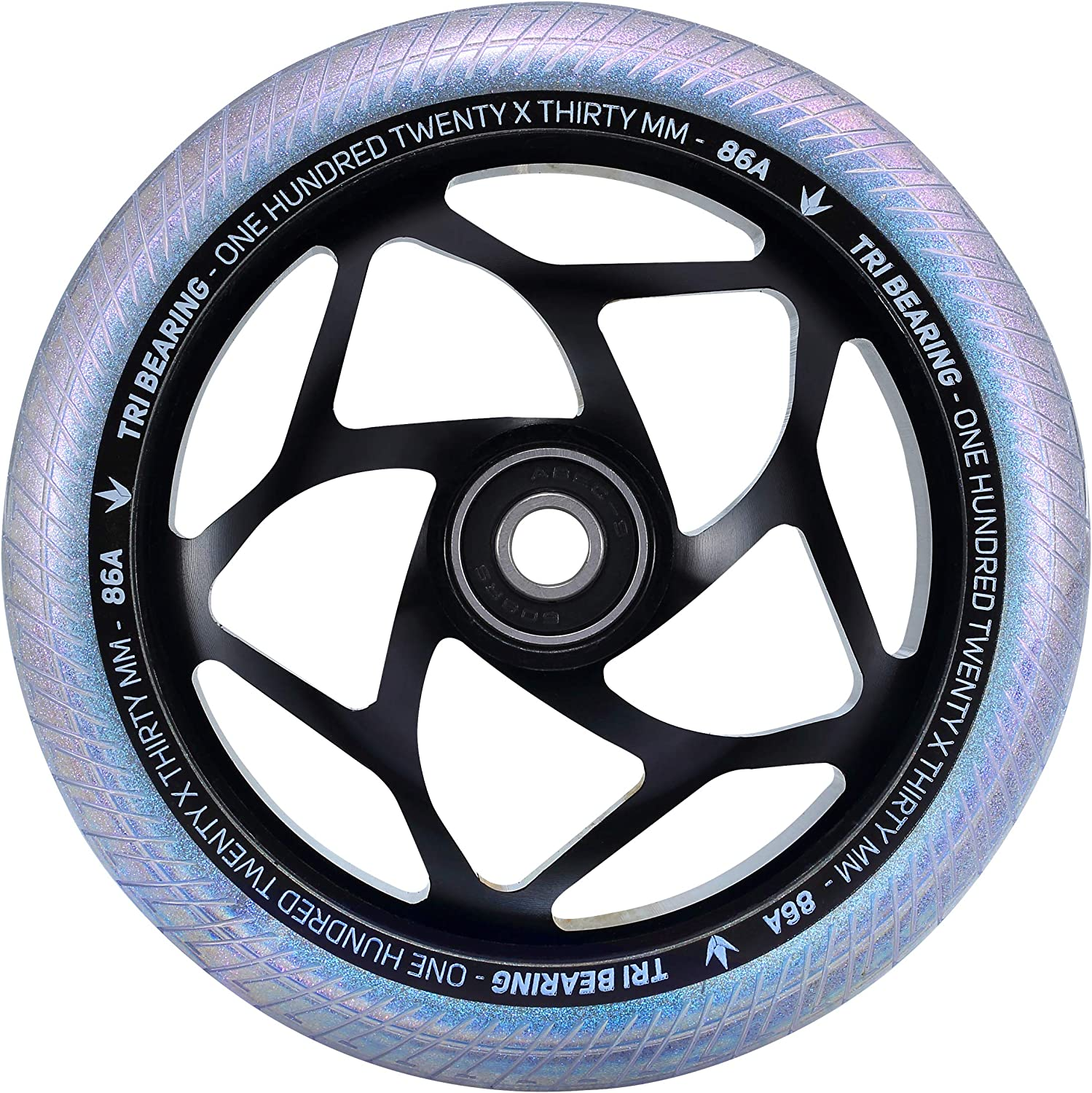 Envy Blunt 120mm x 30mm Tri Bearing Scooter Wheel for 30mm Wide Fitting Forks Black//Galaxy, 120mmx30mm