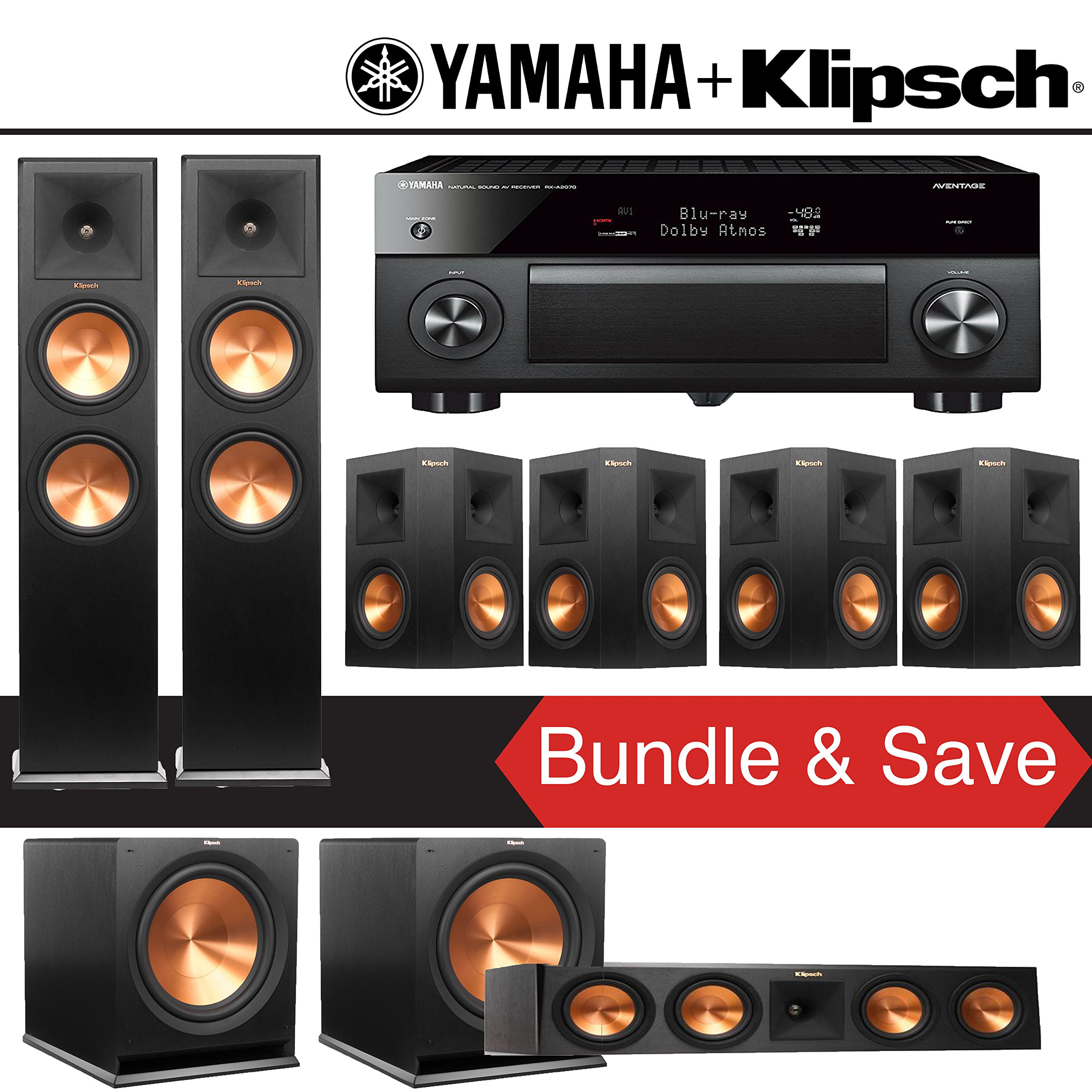 Klipsch RP-280F 7.2-Ch Reference Premiere Home Theater System with Yamaha AVENTAGE RX-A2070BL 9.2-Channel Network A/V Receiver by Klipsch