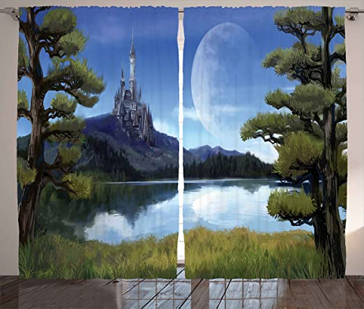 Amazon Com Ambesonne Fantasy Curtains Moon Surreal Scene With Riverside Lake Forest And Medieval Castle On Hill Art Living Room Bedroom Window Drapes 2 Panel Set 108 X 90 Green And Blue Home
