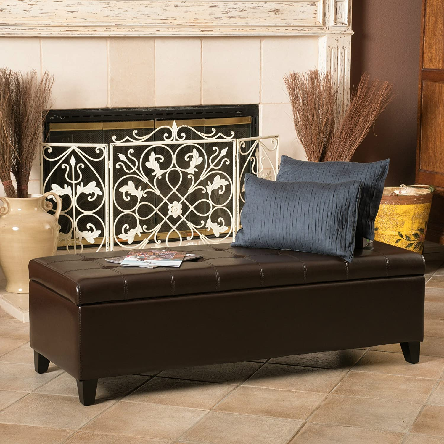 Fantastic Amazon Com Ensuma Tufted Storage Leather Ottoman Bench Andrewgaddart Wooden Chair Designs For Living Room Andrewgaddartcom