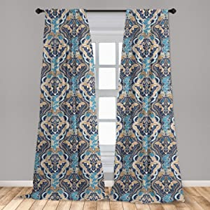 Ambesonne Asian Curtains, Vintage Eastern Abstract Floral Pattern with Leaves Grid Style Lines, Window Treatments 2 Panel Set for Living Room Bedroom Decor, 56