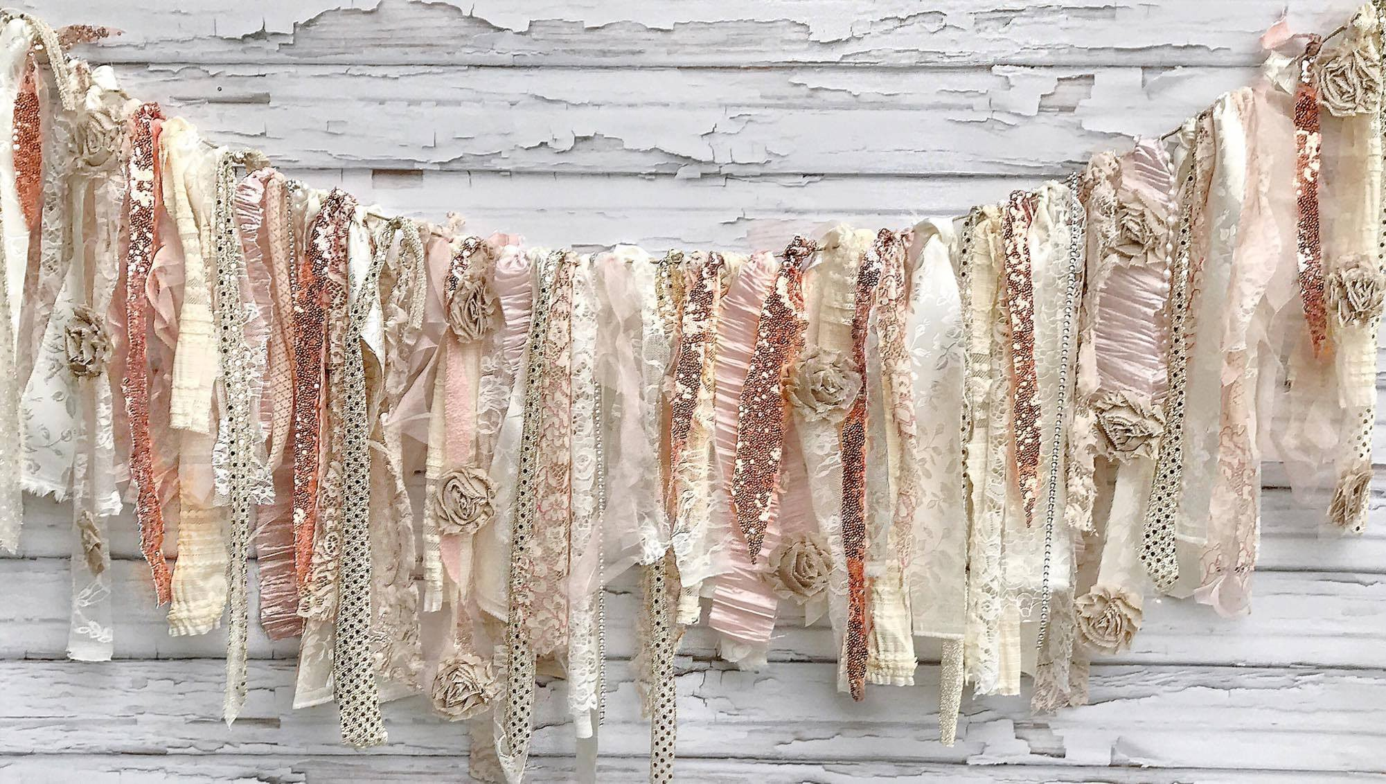 Champagne Rose Gold Shabby Chic Rag Tie Garland: ~ Photo Shoot ~ Wedding ~ Birthday ~ Nursery ~ Baby Shower ~ Highchair ~ Gender Reveal ~ Decorations ~ Wall Decor! (8 FEET WIDE) by Modern Rag Quilts