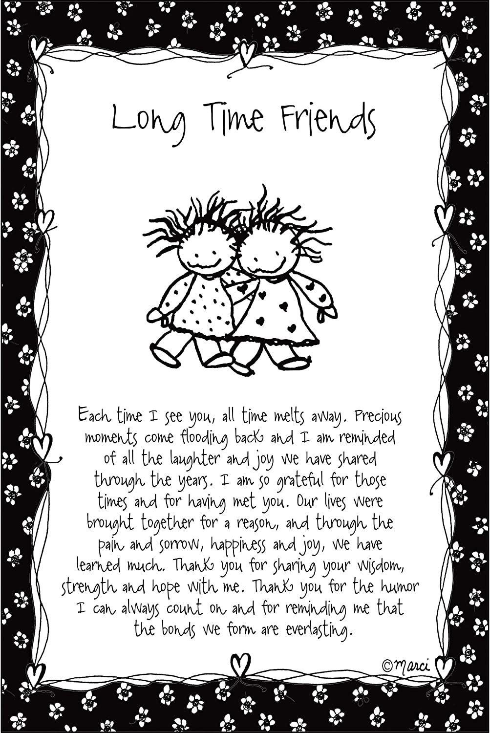 Long Time Friends Wood Plaque - Children of The Inner Light by Marci | Elegant Vertical Frame Wall Art & Tabletop Decoration | Easel & Hanging Hook | Measures 6 inches x 9 inches