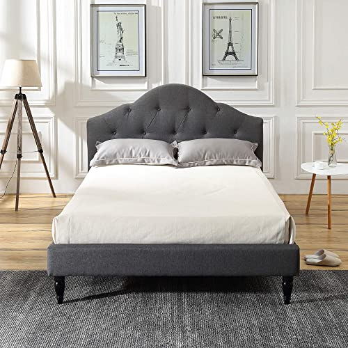 Winterhaven Upholstered Platform Bed Headboard and Wood Frame with Wood Slat Support Grey, King