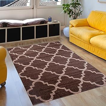Tapiso Tapis De Salon Moderne Collection Sari – Couleur Marron Foncé  Chocolat Motif Géométrique Marocain Treillis Trèfles - Facile D\'Entretien  200 x ...