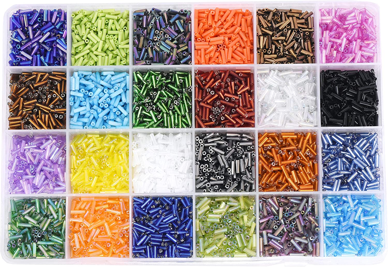 Amazon Com Mandala Crafts Glass Seed Beads Small Pony Beads Assorted Kit With Organizer Box For Jewelry Making Beading Crafting Bulge 2 X 6 5 Mm 24 Assorted Multicolor Set Combo 1