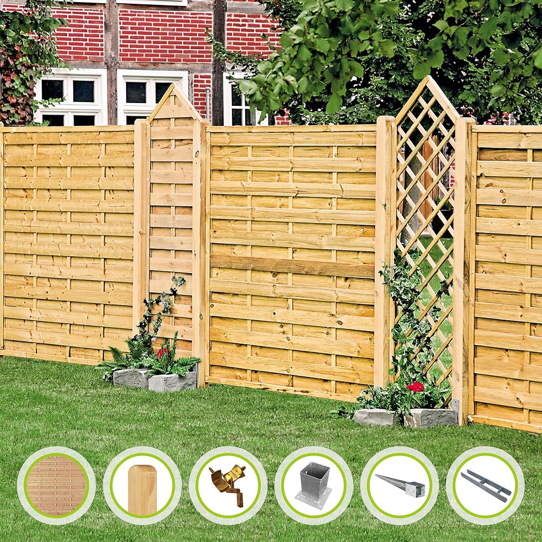 Valla de jardín de la serie Maxi-Massiv, valla de listones, valla de protección visual de madera de pino, color verde, impregnada a presión, estándar I 180 x 180 cm, 5 elementos, para
