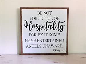 Scripture Sign, Hewbrew 13, Hospitality Sign, Bible Verse Wall Art, Living ROM Wall Decor, Christian Sign, Inspirational Sign 6 x 20 Inch