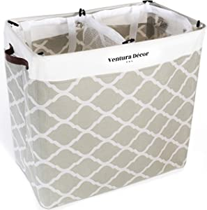 Double Laundry Hamper with Liner – 100L Collapsible Laundry Baskets – Decorative Baskets with Mesh Sorter for Dirty Clothes and Bathroom Stuff – Large Laundry Hamper, Baby Basket, Laundry Room Decor