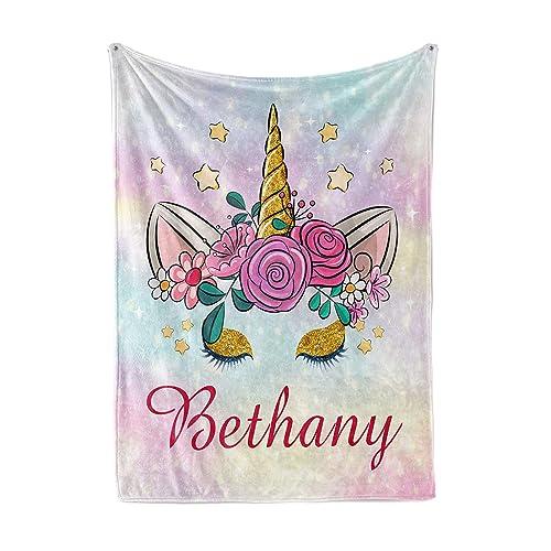 Personalized warm blanket unicorn Soft throw blanket for girl Name of girl on blanket Custom Unicorn Throw Blanket Name Blanket Unicorn