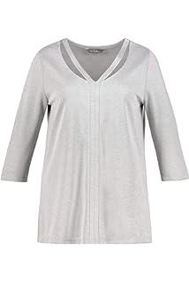 f6fc7f0130f Ulla Popken Femme Grandes Tailles T-Shirt col Rond Fendu et imprimé ...