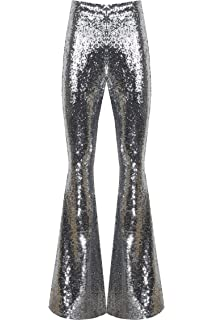 988ee89f25ef00 AZZAVERA Shiny Silver Sequin High Waist Flare Pants Bell Bottoms Wide Leg  Long Palazzo Yoga Harem