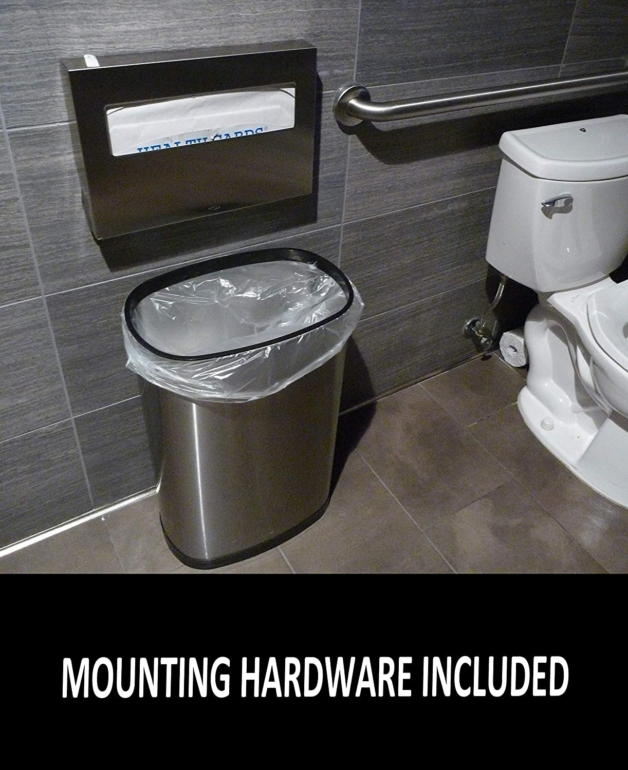 B077BGHHS1 Toilet Seat Cover Dispenser | Stainless Steel | Mounting Hardware and Install Instructions Included | Fits Single and 1/2 Fold Seat Covers. 61ARRo4rbdL