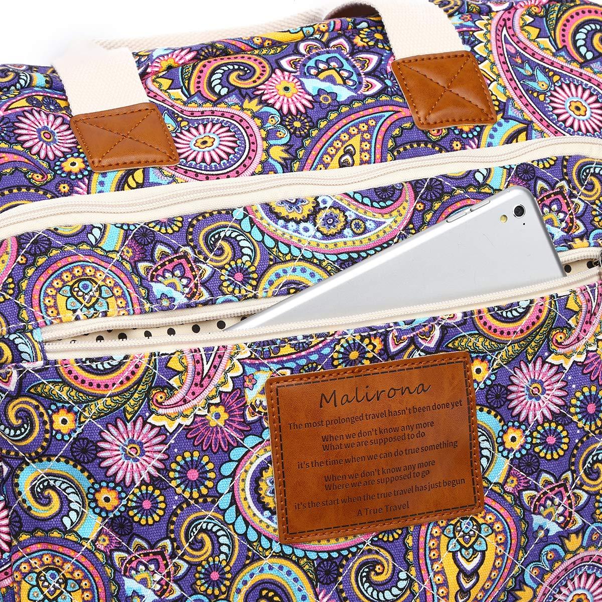 Malirona Women's Canvas Overnight Weekender Bag Carry On Travel Duffel Tote Bag Bohemian Flower (Purple Flower) by Malirona (Image #6)