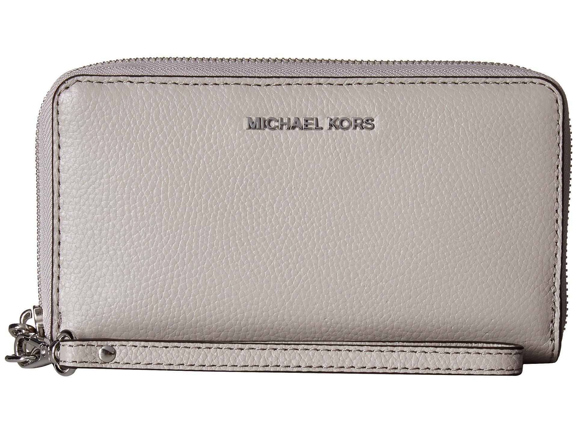 MICHAEL Michael Kors KORS STUDIO Large Flat Phone Case Wristlet Pearl Gray