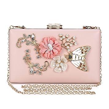 00b58d90ddf8e Abendtasche Damen Blumen Clutch Bag Kette Shiny Elegante Handtasche  Umhängetasche für Hochzeit Party - Rosa