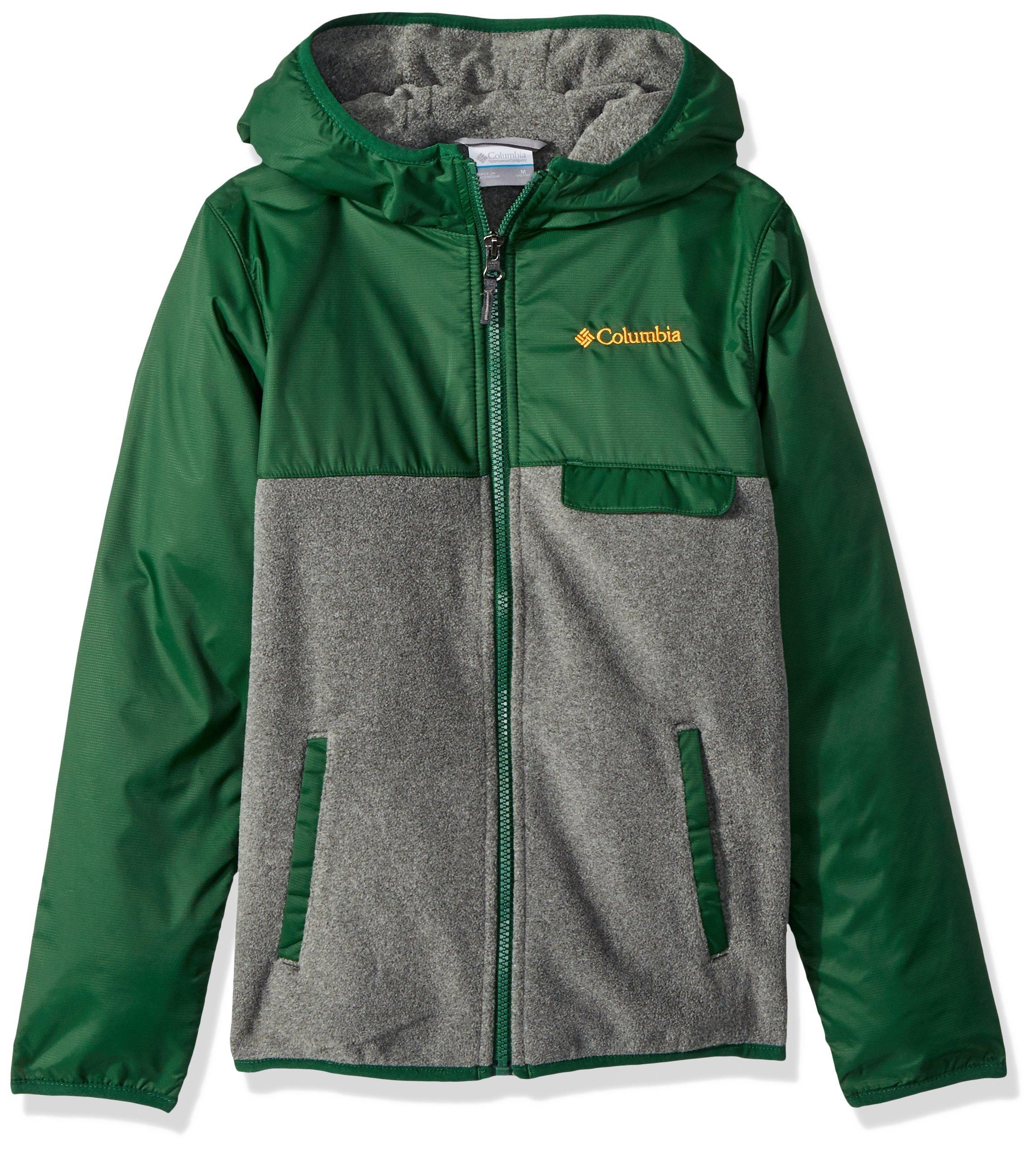 Columbia Little Boys' Mountain SideOverlay Full Zip Fleece, Forest/Grill Heather, X-Small