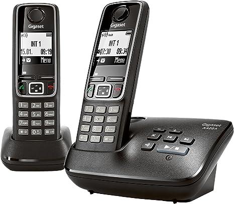 incl Gigaset A420 A Duo Dect-Schnurlostelefon mit Anrufbeantworter 1 zus/ätzlich Mobilteil schwarz