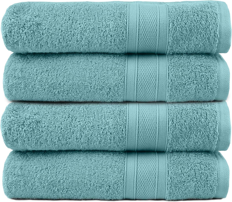 TRIDENT Soft and Plush, 100% Cotton, Highly Absorbent, Super Soft, 4 Piece Bath Towel Set, 500 GSM, Nile Blue