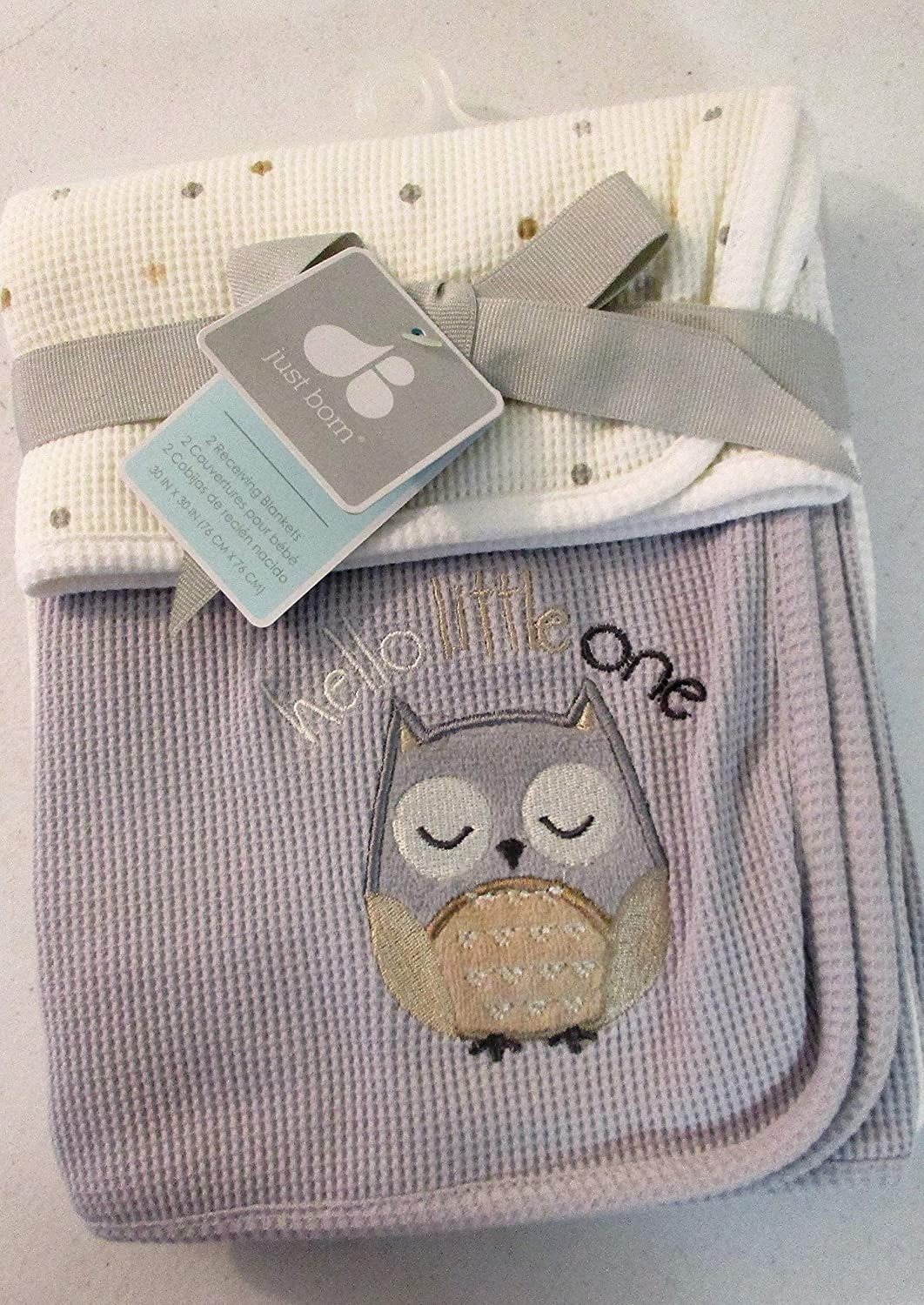 Amazon.com: Just Born 2-Pack Thermal Owl Swaddle Blankets Gray Beige ...