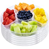 """12"""" Plastic Round Party Serving Tray 5 Compartments 6 Pk Clear Fruits Veggies BPA Free"""