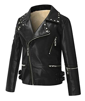 5b907e6c109 The Twins Dream Girls Leather Jacket Kids Leather Jackets Boys Motorcycle Jacket  Girls Coat