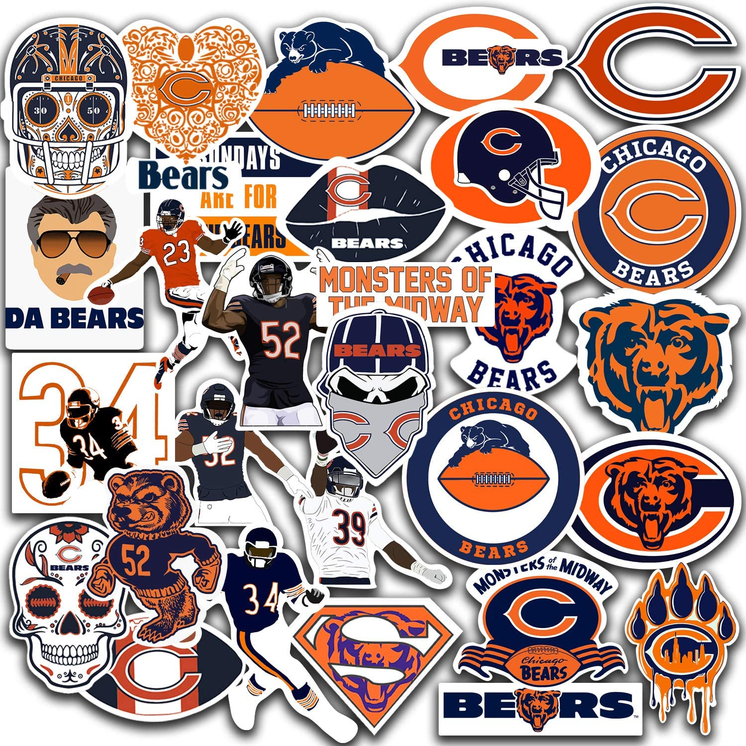 Stickers Pack Chicago Vinyl Bears Stickers Pack of 30 pcs