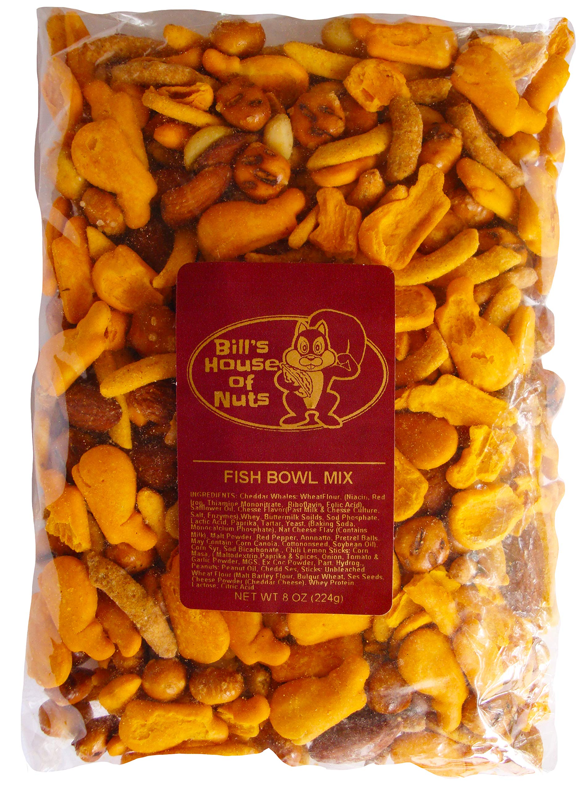 Fish Bowl Snacks Mix Pretzel cheese crackers garlic sesame sticks peanuts almonds and more by Bill's House Of Nuts