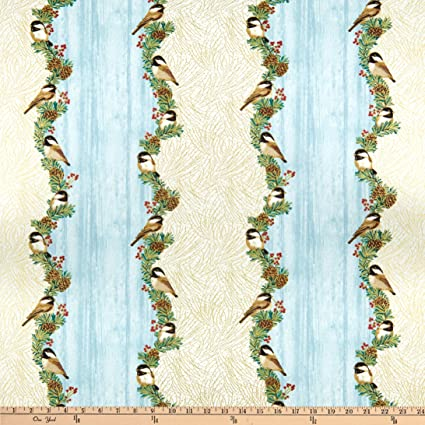 Festive Chickadee Panel by Benartex