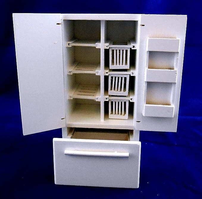 Amazon.es: Frigorífico Congelador de Madera Blanca en Miniatura ...