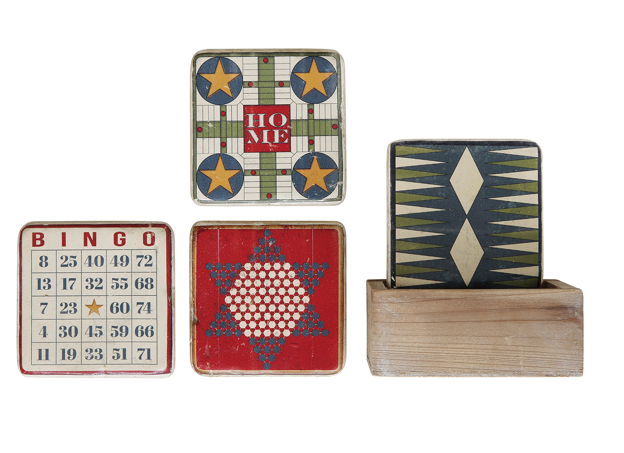 Creative Co-op DA7201 Collected Notions Coaster Set with Vintage Board Game & Wood Box